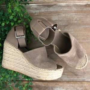MARC FISHER Perforated Platform Espadrille Wedges